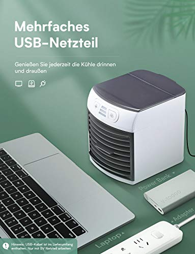 Homitt Mini Luftkühler, Tragber Mobile Klimageräte, 4 in 1 Mini Air Cooler, USB Ventilator, 3 Kühlstufen mit LED Nachtlicht für zu Hause, Büro, Auto, Hotel, Garage, Camping