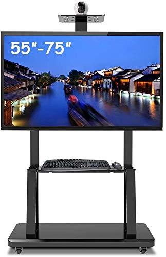 GAOJINXIURZ Soporte TV Ruedas Soporte TV Suelo Rodadura de TV Soporte Ajustable en Altura, portátil for Trabajo Pesado móvil Carro for 55-75 Pulgadas de Plasma/LCD/OLED TV LED, Negro, 105 kg de Carga