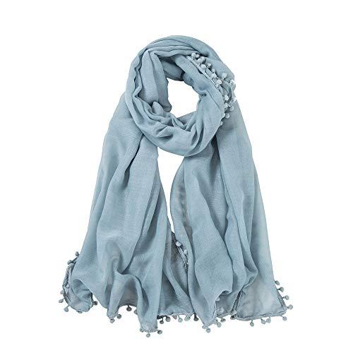 Alberto Cabale Großer Schal aus weicher Baumwolle Mode Wickeltuch für Damen in Uni-Farben Light Blue