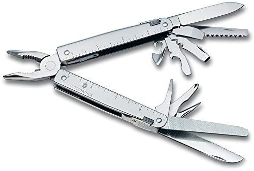 Victorinox Multifunktionswerkzeug SwissTool (26 Funktionen, Kombizange, Metallsäge, Drahtschneider, Etui) silber