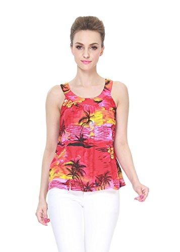 Hawaii Hangover Mujer Hawaiana Camiseta sin Mangas en Puesta de Sol roja XL