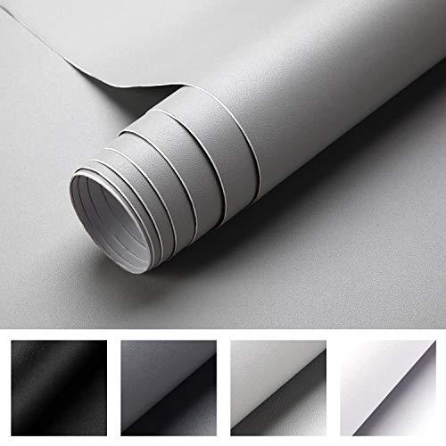 iKINLO Selbstklebende Klebefolie, 0.61 * 5M hellgraue verdickte Küchenschrank Aufkleber Matt Möbelfolie für Möbel Schrank Tische Wand Folie Tapete Dekofolie