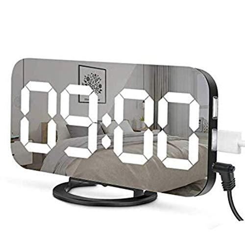 MOHAN88 Reloj Despertador LED Doble Salida USB Snooze Espejo Reloj Digital Reloj Creativo Reloj electrónico de inducción de atenuación - Blanco