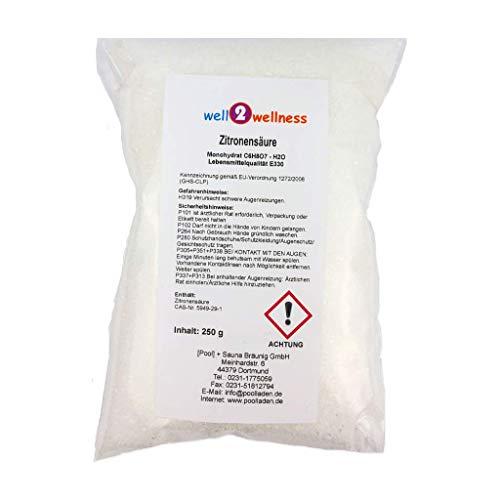 well2wellness Zitronensäure Pulver Monohydrat E330 Lebensmittelqualität 250g Beutel