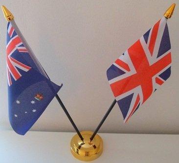 Victoria, Australie Drapeau Union Jack 2 amitié Tableau d'affichage avec Base dorée