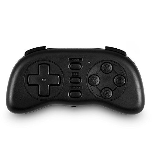 Pangding Controlador Bluetooth, Mini Mando inalámbrico portátil para Juegos Gamepad Compatible con iOS Android Windows(Negro)