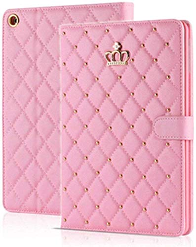 Topwin iPad 10.2 2019 Case,iPad 7th Generation Case Crown Design Bling Diamond Cute Elegant PU Leather Smart Auto Sleep/Wake Stand Shockproof Case for Apple iPad 10.2 inch 7th Gen 2019 (Pink)