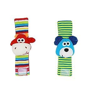 ZHANGNUO Sonajero para Bebé Juguetes Sonajero De Muñeca Y Calcetines De Pie Animal Cute Cartoon Baby Socks Sonajero Toys Naranja