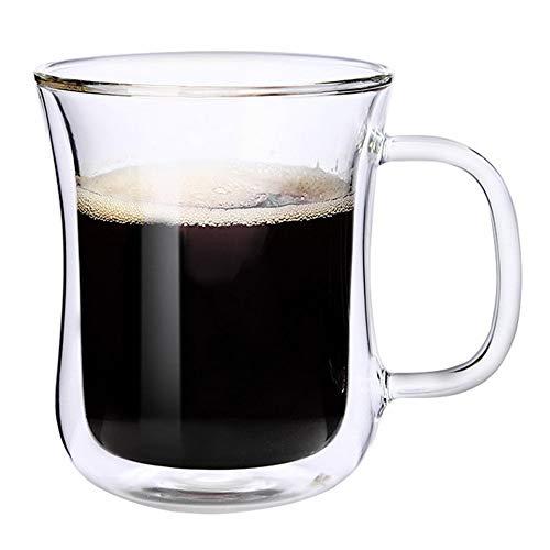 MxZas Drinkbekers, eenvoudige espressokopjes, glas, dubbelwandig, koffiemok met handgreep, wand-isolatieglazen koffiemok