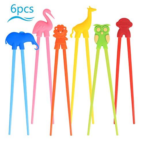 LANMOK 6 Paare Kinder Training Essstäbchen, Japanische Besteck Set Tiere Lernen Stäbchen für Erwachsene Anfänger Kinder Senioren Chopsticks- Panda Flamingo Giraffe Elefant (6 Paare Essstäbchen)