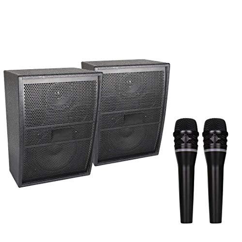DBGS Draadloze microfoon, draagbaar, bluetooth-microfoon, 2 microfoon, draadloos, microfoon, 2-kanaals UHF draadloos, zwart