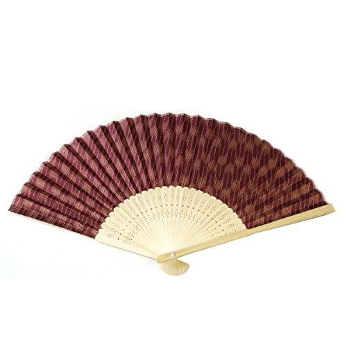 扇子 H柄 白竹 矢羽絣 あずき色 ・やばねかすり 模様 せんす かばんの中に常備して…