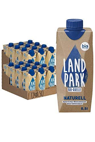 Landpark Bio-Mineralwasser Naturell, 24x0,5L Tetra Pak | natürliches Mineralwasser aus der Bio-Quelle | natriumarm & ohne Kohlensäure | praktisch für unterwegs | stilles Wasser | pfandfrei