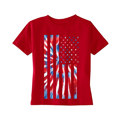 Patriotic Tie Dye American Flag Toddler T-Shirt 4th of July USA Kids Red 5T