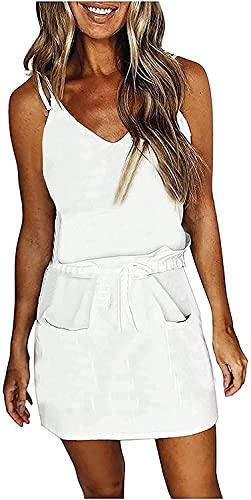 DLRBDMM Vestido de verano con cuello en V y tirantes de espagueti sin mangas, simple, multicolor, sin mangas, mini vestido suelto (color: blanco, tamaño: pequeño)
