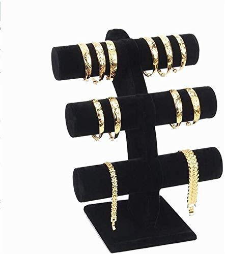 KEEBON Joyería Rack Multi-Capa Pulsera Estante Reloj Rack Joyería Almacenamiento Pulsera Pulsera Soporte para Collares Pendientes Pendientes (Color: Negro, Tamaño: 23.5x14.5x30cm)