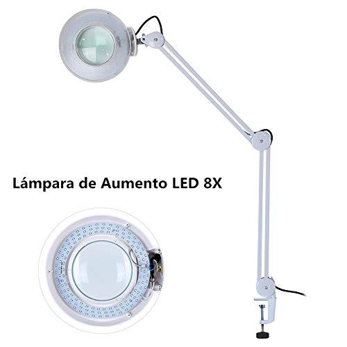 Lampara Lupa,Lámpara con Lupa 8X Lupa 220V LED Altura Ajustable para el Tatuaje, la Belleza, la manicura, Blanco (con Abrazadera)