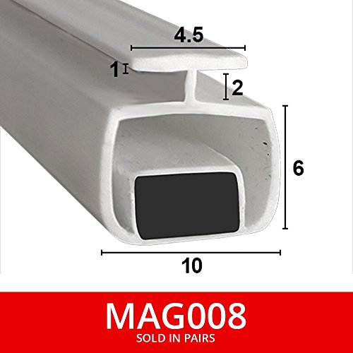 Shower Seal UK MAG008 Magnetische Duschdichtungen für Rinnen, Lieferung als Paar, weich, flexibel, faltbar, weißes  Gummi, T-Profil mit Magnet, passt in eine 4 oder 5 mm Rinne, 2 m lang