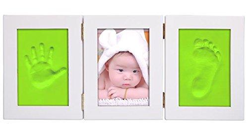 Demarkt Baby handdruk kinderen hand print footprint frame beschermen uw herinneringen houten fotolijst voor baby lieve herinneringen 28x33cm Witte doos + groen.