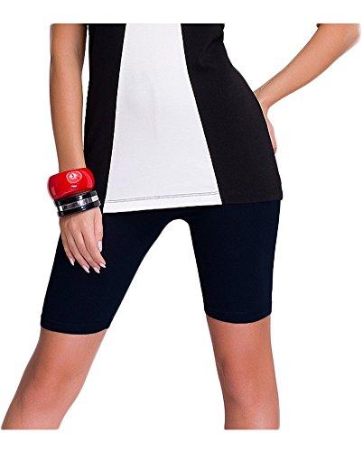 Damen kurze Leggings / Shorts / Radlerhose aus Baumwolle (M, Schwarz)