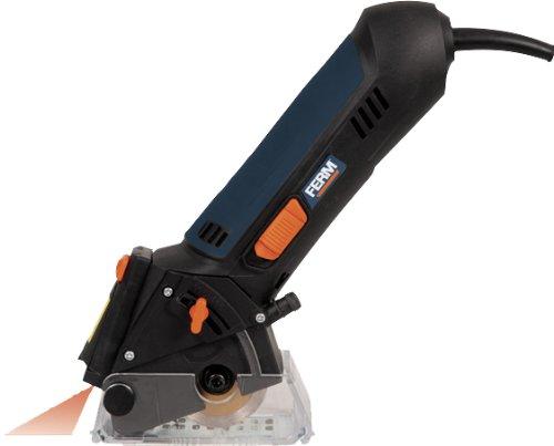 Ferm CSM1038 Präzisions Mini-Handkreissäge 400W - Laser - Inkl. 4 Sägeblätter und Staubabsaugung - Für Holz, Kunststoff, Fliesen (keramik), Laminate und MDF