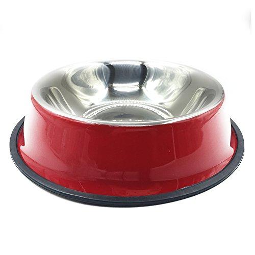 Pet Cuisine Gamelle Colorée en INOX avec Cerceau en Caoutchouc pour Chien/Chat Rouge de Datte M