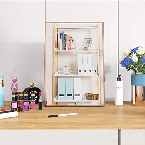 Hosoncovy 13 Zoll Metallrahmen Klapp Kosmetikspiegel Rechteck Tischspiegel mit Ständer Hoch Klar Standspiegel Kosmetikspiegel Kosmetikspiegel Wandspiegel für Schlafzimmer Badezimmer (Champagner)
