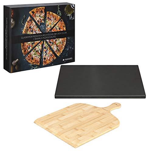 Navaris Pizzastein XL für Backofen Grill aus Cordierit - Pizza Stein Ofen mit Pizzaschaufel - Gasgrill Herd Teller rechteckig 38x30cm - glasiert