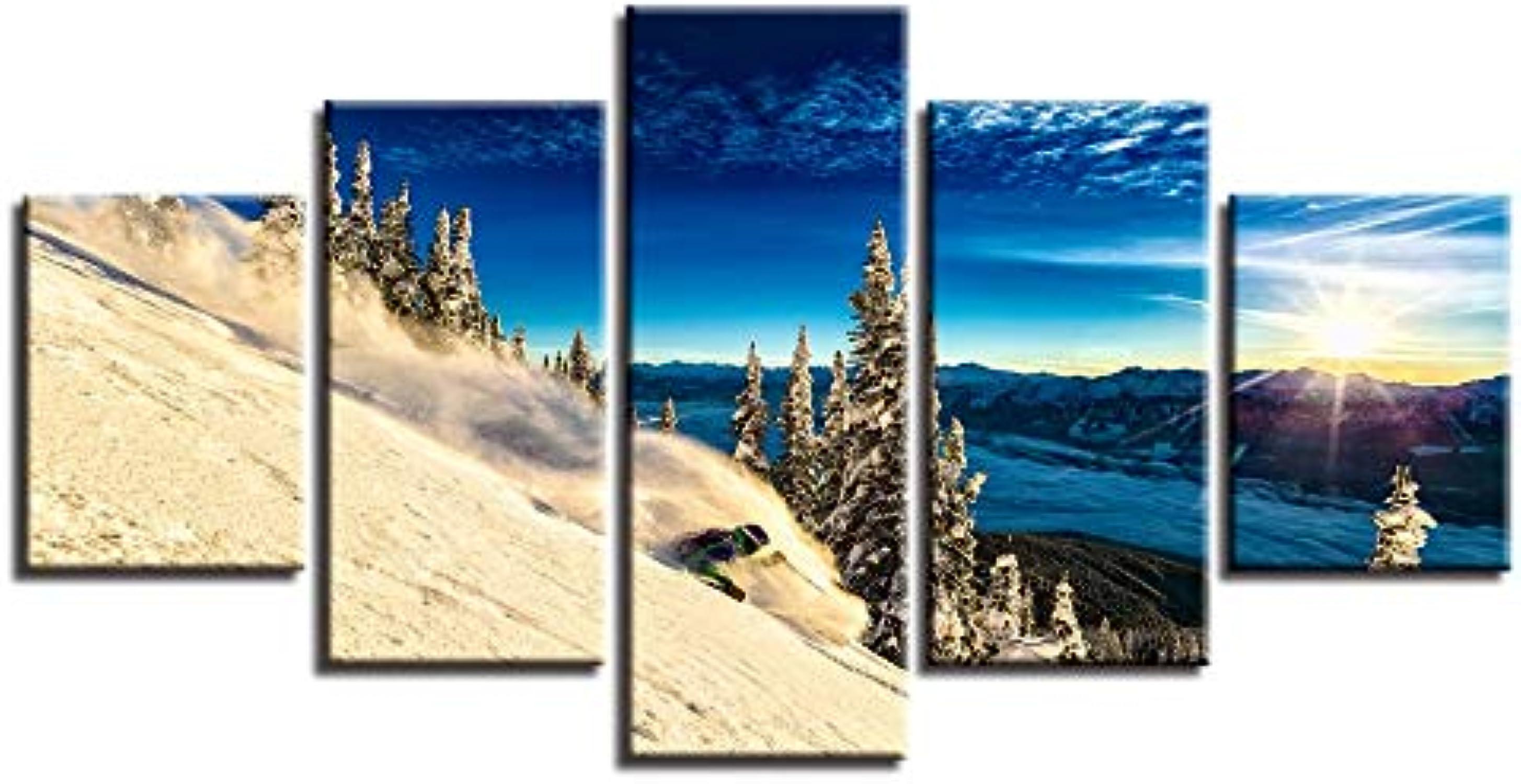 RMRM Marco Modular Inicio Arte de la Parojo Pintura de la Lona Decoración 5 Unidades Snow Mountain Skiing Poster Print Sunrise Tree Landscap Pictures 20x35cm20x45cm 20x55cm