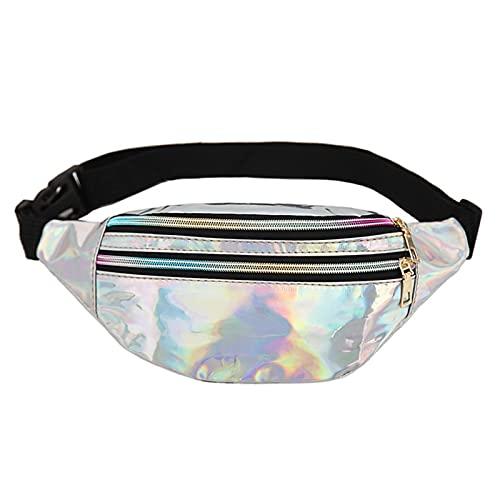 Germplasm Fanny Pack para mujer Fanny Pack Bolsa holográfica de cintura con cinturón ajustable para viajes, rave, festival, conciertos, fiesta