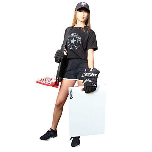 Better Hockey Extreme Sauce Combo Single - Hinterhofspiele - Trainingshilfe für Flipp-Pässe - Trick Shot Kit - Mini-Tor fasst bis zu 40 Pucks - Schussplatte simuliert das Gefühl von echtem EIS