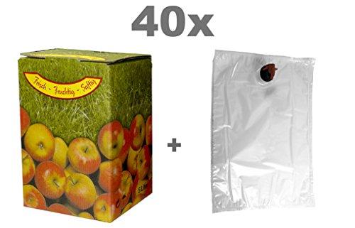Fischer Kellereitechnik Bag-in-Box Set 5L 40x Beutel und 40x Kartons Apfelmotiv