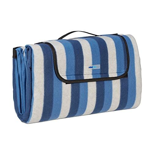 Relaxdays XXL Picknickdecke, 200 x 200 cm, Fleece Stranddecke, wärmeisoliert, wasserdicht, mit Tragegriff, blau/weiß