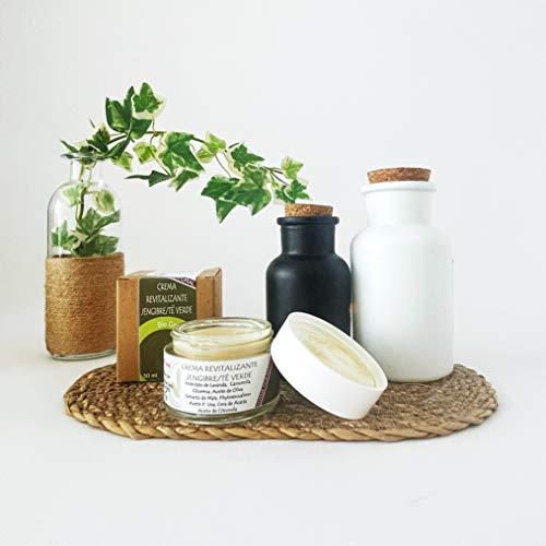 Crema Hidratante facial BIO Revitalizante con Jengibre, té verde y Aceite de Uva y Oliva, CREMA NATURAL, ACEITES NATURALES, EXTRACTOS VEGETALES, SIN AROMA, SIN COLORANTES, JENGIBRE