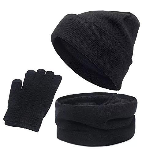 YKKJ Ensemble Hiver Bonnet écharpe GantsTricotés Ensemble d'hiver 3 en 1,Bonnet écharpe Gants d'écran Tactile pour en Plein air et Quotidien Homme Femme 。 Gants écharpe Bonnet Chaud