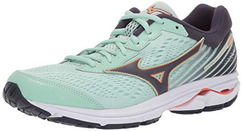 Mizuno Women's Wave Rider 22 Running Shoe, Misty Jade - Graphite 7 B