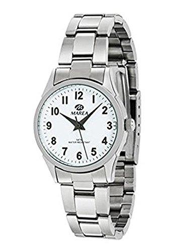 Ref. B36106/1 Reloj Marea Señora, analógico, caja y brazalete de acero, esfera blanca, sumergible 50 metros, garantía 2 años.