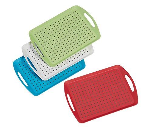 Invero - Juego de 4 bandejas antideslizantes de plástico con superficie de goma antideslizante, base acolchada antideslizante y asas ideales para cocinas y hogares (46 x 31 cm)
