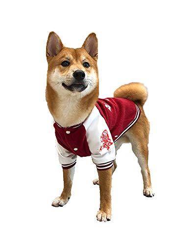 柴犬 コーギー 中小型犬 かっこいい野球 ジャケット かわいい衣装 ペット服(2XL, レッド)