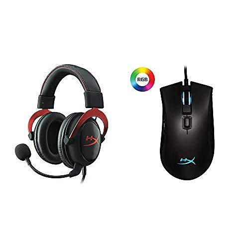 HyperX Kingston Cloud II Gaming Kopfhörer (für PC/PS4/Mac) rot + Pulsefire FPS Pro Gaming Maus RGB
