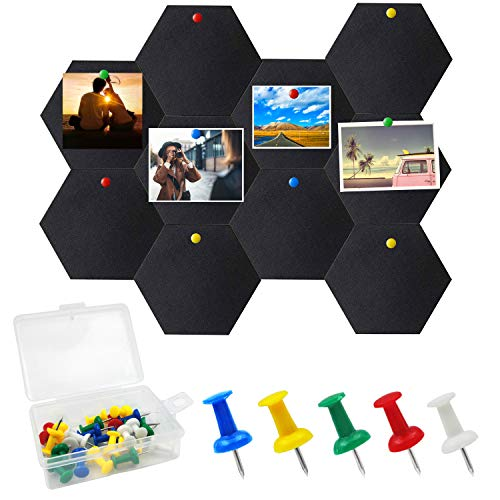LURICO 10 Packs Hexagon Felt Board Tiles, Tiles Bulletin Board Memo Board, Felt Hexagon Tile Board Cork Board, Home Office Classroom Wall Decoration, with Push Pins