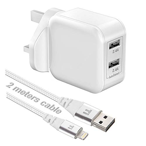 InfoTechnica Dual USB 24W charger compatible with iPad 4, iPad Air, iPad Pro, iPad Mini, iPhone 5, iPhone 6, iPhone 7 with 2 meters nylon braided certified Sync & Charge USB cable (White)
