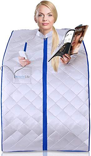 AY Tragbare Infrarot-Home Spa |Eine Person Sauna |mit Heizung-Fuss-Auflage und beweglichem Stuhl (Color : Silver)