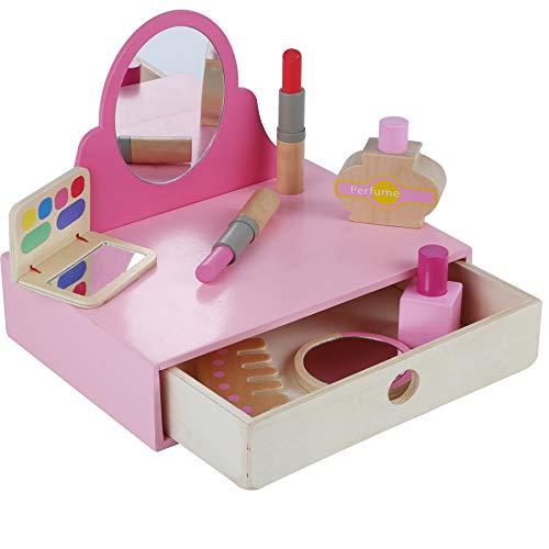 B&Julian Holzspielzeug Schminktisch aus Holz mit Spiegel und Make-up Zubehör Kosmetikkoffer Spielzeug zum Rollenspiel für Mädchen ab 18 Monate