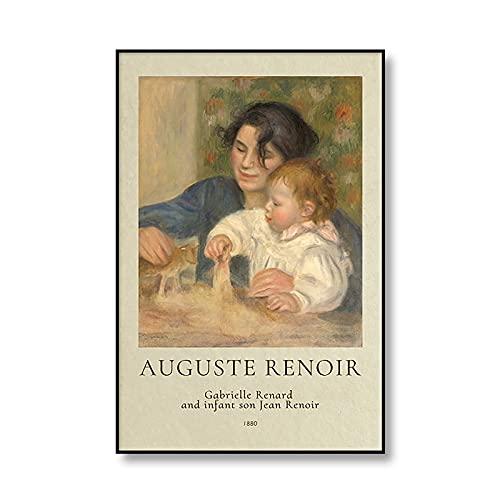 Famosos carteles e impresiones de pintura al óleo de Auguste Renoir, pinturas de lienzo decorativas sin marco de la familia vintage Q-1 50x70cm