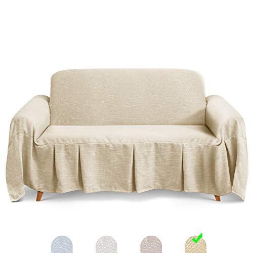 TAOCOCO Sofaüberwurf 260 x 210 cm Schal Sofaüberwurf Elegant Seam Sofaüberwurf Weiß Creme