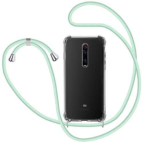 Funda con Cuerda para Xiaomi Mi 9T / Mi 9T Pro, Carcasa Transparente TPU Suave Silicona Case con Correa Colgante Ajustable Collar Correa de Cuello Cadena Cordón para Xiaomi Mi 9T - Verde Menta