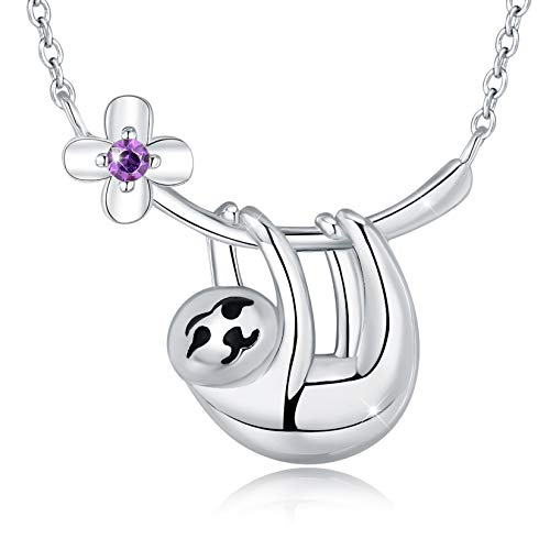 EURYNOME Sloth Necklace S925 Sterling Silver Cute Pendant Jewellery Animal Necklace Sloth Gifts for Women Teens Girls