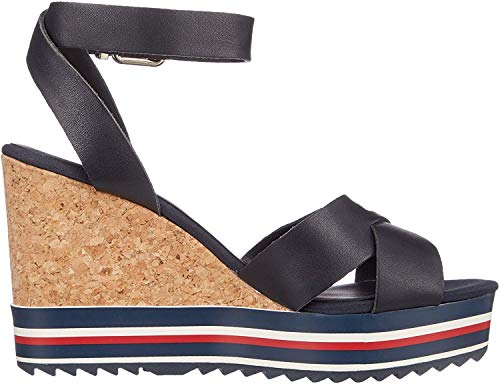 Tommy Hilfiger Colored Stripes Wedge Sandal, Sandalias con Plataforma para Mujer, Azul (Midnight 403), 40 EU