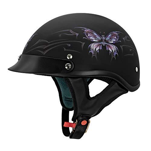 VCAN Cruiser Intricate Butterfly Motorcycle Half Helmet (Flat Black
